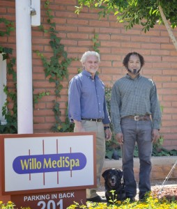 Front of Willo Medispa with Dr. Nello Rossi, Zavier, and Muzzy