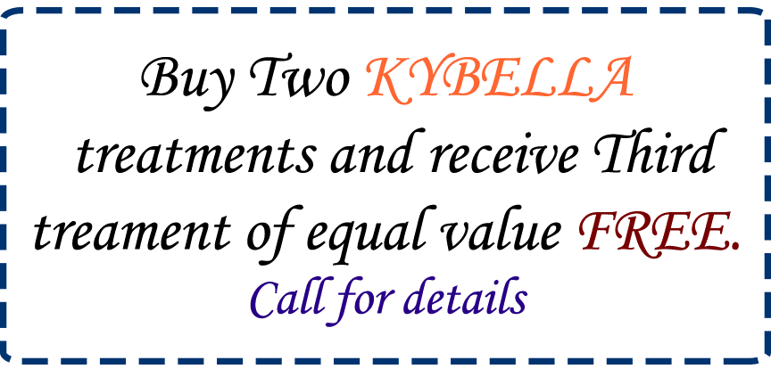 Buy Two KYBELLA treatments and receive Third treament of equal value FREE. Call for details.
